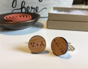 Custom Cufflinks | Personalized Cufflinks | Wood Cufflinks | Anniversary Gift for Him | Groomsmen Cufflinks | Custom Cufflinks | Groom