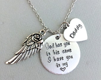 Father Memorial Necklace, Loss of Father, Remembrance Necklace, Personalized Daddy Gift, Angel Wing, Heart Necklace, Memorial Gift, Silver
