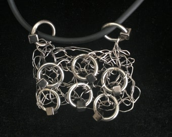 Industrial Wire and Jump Ring Pendant Necklace
