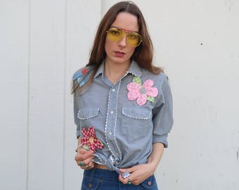 70's 3D Flower Power Chambray Shirt Button Down Unique Handmade Embellished Flowers Pop Out Quilted Groovy Hippie Seventies Daisy Colorful