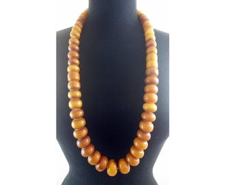 Antique 1930's Tribal African Mali Manmade Amber Bead Necklace - Long Strand of 50 Resin/Plastic Beads -