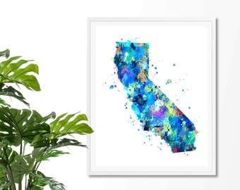 California Watercolor Map 4  Art Print, Poster, Wall Art, Contemporary Art, Modern Wall Decor, Office Decor