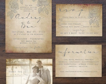 Elegant, Vintage-Romance Wedding Invitation Suite (Printable)