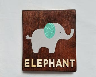Hand Painted 5 x 6 Elephant Nursery Wall Decor