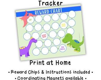 Chore Chart • Dinosaur • Behavior Tracker • Routine Chart • Kids Chores • Child Attitude Chart • Magnetic Chore Chart • PRINTABLE