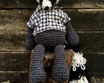 Ricky the Raccoon Crochet Animal Stuffed Animal Crochet Raccoon Plush Raccoon Toy Raccoon Amiguriumi Crochet Raccoon