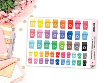 Recycling Bins || 46 Planner Stickers, Recycle Stickers, Planner Decor, Item Planner Stickers, Garbage Stickers, Stickers For Planners