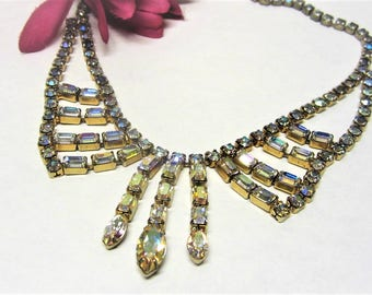 Aurora Borealis Rhinestone Necklace with Dangle Vintage 1950s Statement Necklace Adjustable Length