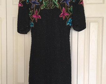 Nite Waves - Sequin Evening Dress 1980s