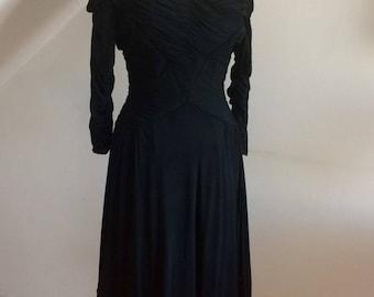 Vintage 1940s Black Silk Dress Totally Divine Style Hourglass Bombshell Pristine 12-14