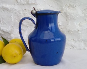 French vintage enamelware pitcher, dark blue
