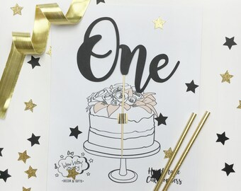 One Cake Topper, One Script Topper, First Birthday Topper, Black Cake Topper, Glamour Cake Topper, Gold Glitter Cake Topper, Birthday Props