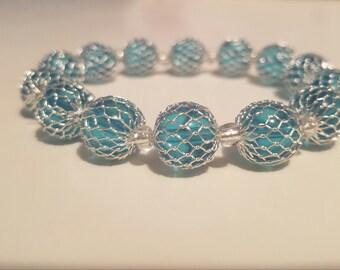 Aqua Wire Wrapped Bracelet