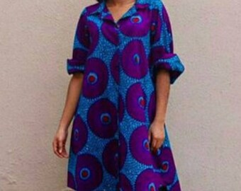 Loose Fit High-Low Ankara Shirt Dress