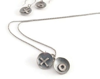 X's & O's Set*   Rustic Charm, Artisan Blackened Silver Necklace and Earring Set,