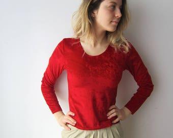 Hot Red Velvet Blouse Long Sleeve Velvet Top Bright Red Velvet Sweater Small to Medium Size Women's Velvet Top Red Velour Sweater