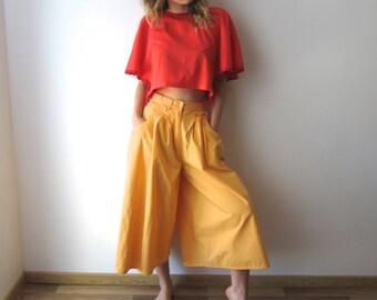 Vintage Yellow Culottes Pants Wide Leg Pants Skirt Pants Midi Skirt Pants Comfortable Festival Clothing Palazzo Pants Size Small to Medium