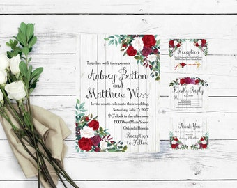 Rustic Wedding Invitation Template- Marsala Invitation- Wedding Invitations- Rustic Wedding Invitations with RSVP Cards- Floral Invitation