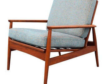 Vintage Mid Century Danish Modern Teak Arne Vodder Lounge Chair