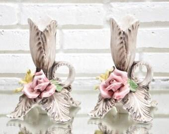 Vintage Ceramic Candlestick  Holders Set of 2 Italian Made Ornate Floral Rose Candle Holders Candleholder