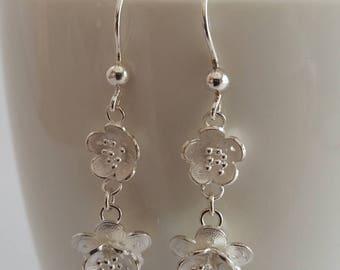 Filigree Earrings Cherry Blossom, Sterling Silver Earrings, Dangle Earrings, Flower Earrings, Spring Earrings, Handmade in Spain, Gift Idea