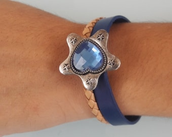 Boho chic  leather cuff wristband blue and sand color baided leather  with blue crystal charm modern design bracelet