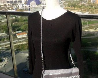 Evening clutch Grey silver Boho style wrist and cross body bag, Shipping included