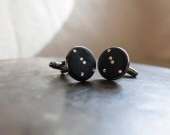 Cancer Cufflinks, Crystal Stars, Men's Constellation Jewelry [Lucky Star Dreams]