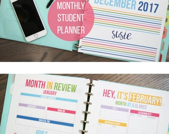2017 Student Intentional Life Planner - Monthly Planner - Letter and A5 Size - Digital Download