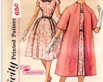 Vintage Late 50's Early 60's Full Skirt Dress & Coat Pattern: Simplicity 3348; size 11, bust 31.5; Rockabilly!