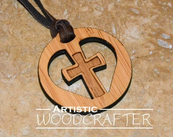 Wooden Cross Necklace (Bamboo)