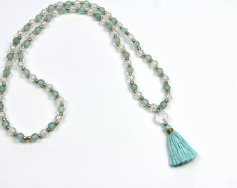 Mint Green and Gold Tassel Necklace . Mint Tassel . Statement Necklace . Handmade Tassel . Spring and Summer Trends . Long Layer Necklace