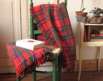 2 covers Tartan pure wool / Vintage France 50-70's / red blue green Tartan Plaid / throw / bedspread 1 place