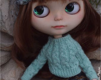 Blythe light green knitted sweater Doll cable knit longsleeve sweater Azone pure neemo outfit Doll knitwear