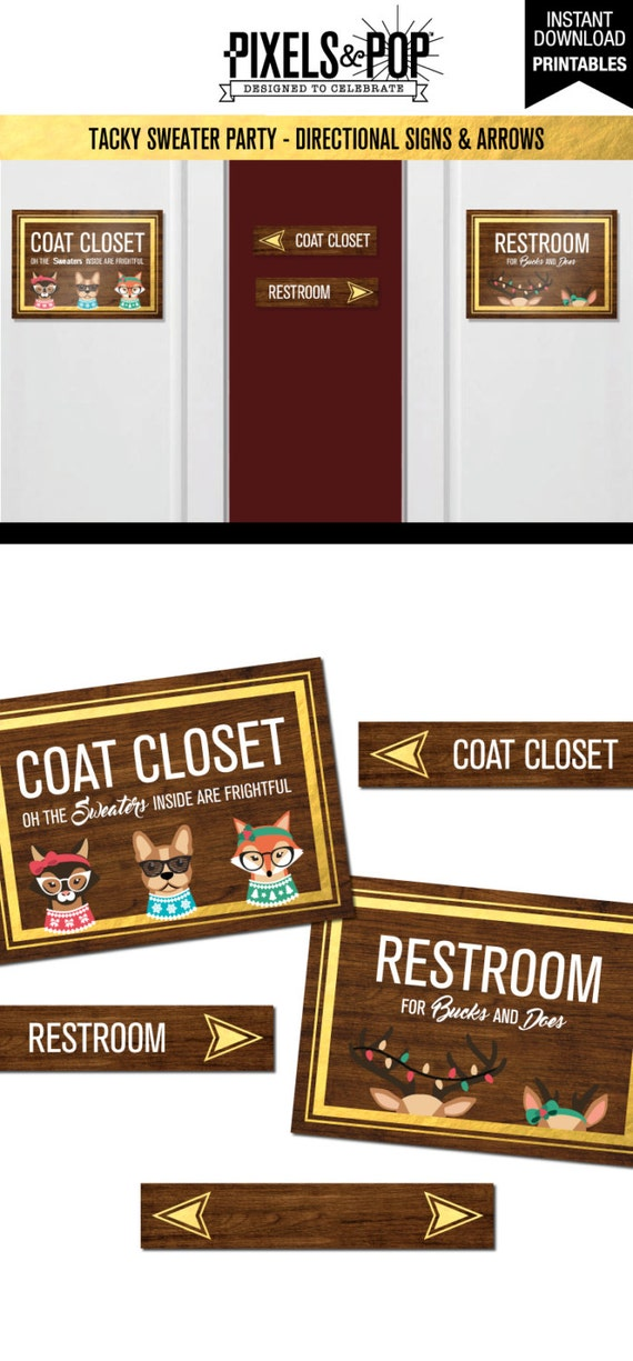 Party Signage Pack Restroom Sign Coat Closet Directional Arrows Ugly Sweater Christmas Printable Signs