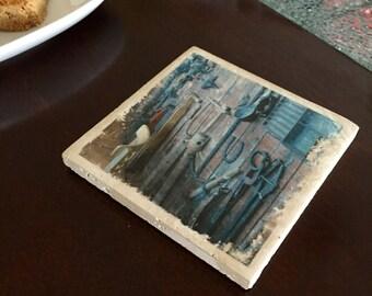 Nautical Tools Tile Coaster