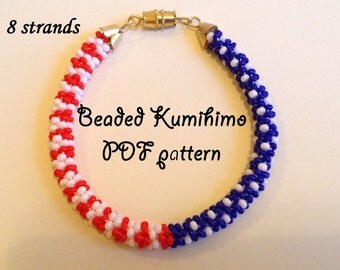 Beaded kumihimo pattern tutorial bracelet american flag