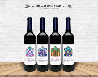 Baptism Wine Labels, First Communion, Dedication, Baptism Decoration, Baptism Card, Confirmation, Mi Bautismo, stained glass window, cross