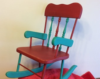 Vintage Wooden Refinished Doll Chair
