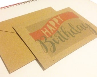Grey and Pink Happy Birthday Card
