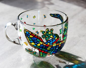 Funny Coffee mug Big Mug Hand painted Glass mug Large Mugs Colorful Mug Mosaic Gift Blue Mug Multicolored Salamander Mug Handmade Large Cup