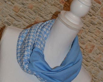 Houndstooth scarf Blue flannel scarf Oversized scarf Infinity scarf Womens scarves Eternity scarf Winter scarf Outlander scarf Gift for her