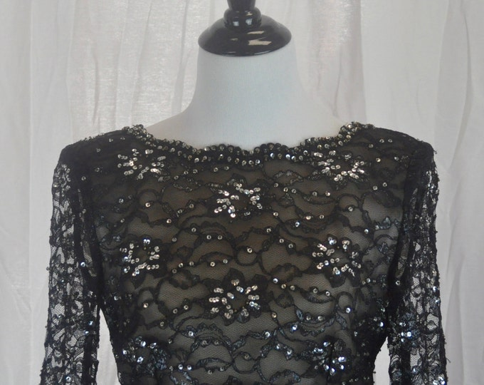 Vintage 1980s Amen Wardy Lace and Beaded Black  Gown