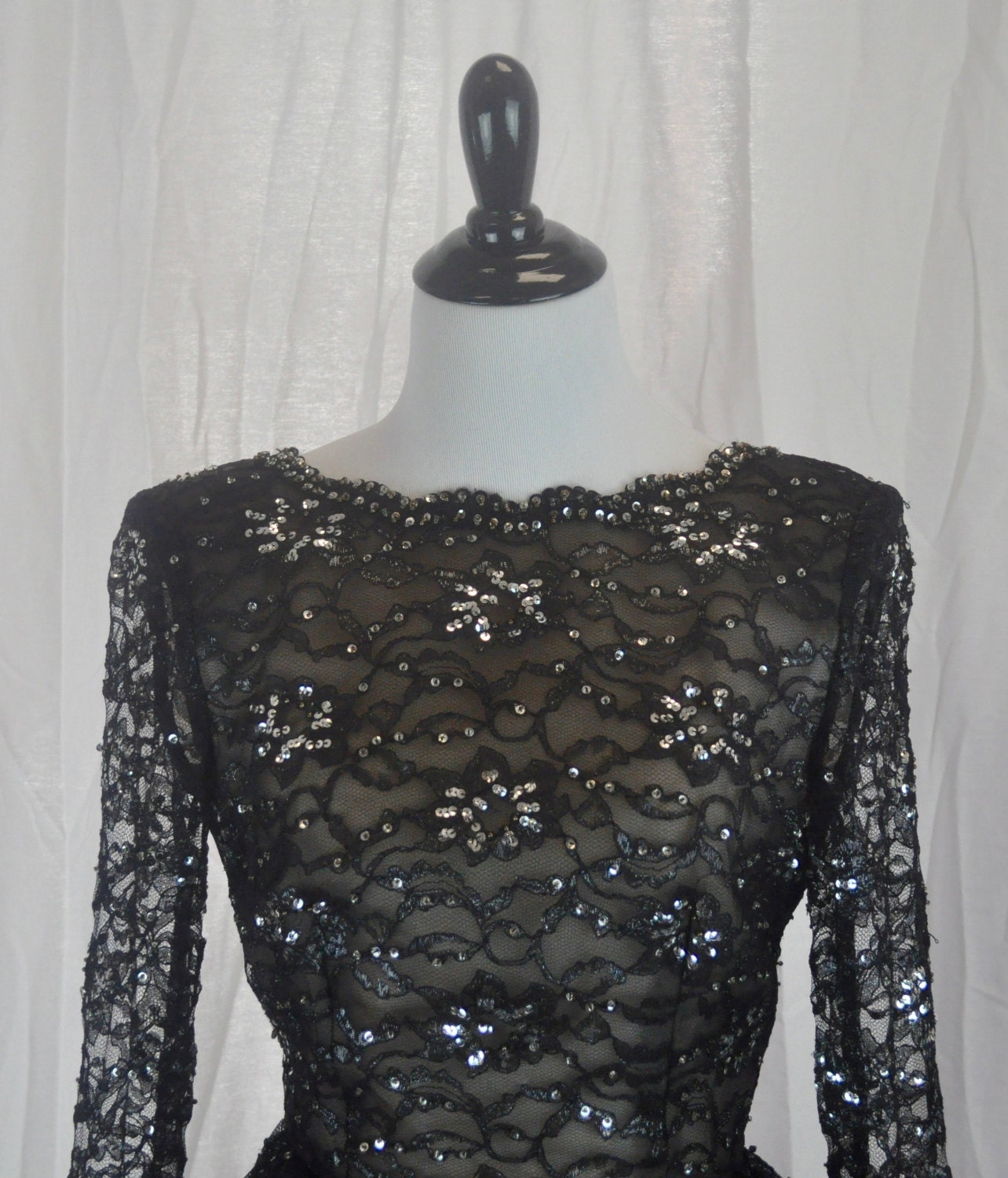 Amen Wardy vintage 1980s amen wardy lace and beaded black gown