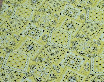 Yellow Bandanna Pattern Cotton Fabric