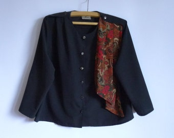 Women's Black Blouse / Blouse 1/2Short Sleeves/ Blouse Button up  /Large  Blouse / 100% Polyester Blouse Size:18