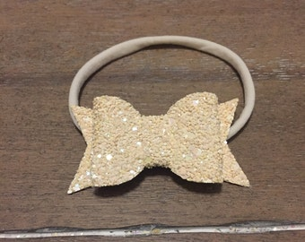 Dreamsicle Peach Glitter Bow