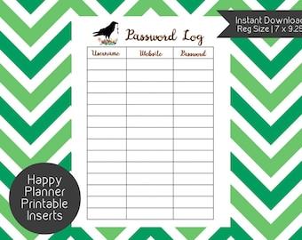 Happy Planner PASSWORD LOG Printable Insert, Happy Planner Password Tracker, Create 365, Happy Planner Insert, Happy Planner Page