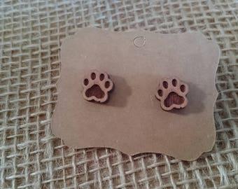 Cat paw earrings, wooden