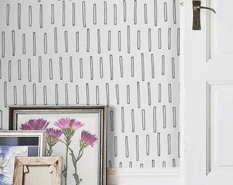 Geometric sticks pattern, minimalistic, scandinavian wallpaper, white, subtle wall mural, self adhesive, reusable, removable #126